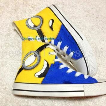DCKL9 minion Converse shoes Despicable Me minion shoes hand-painted High-top Converse