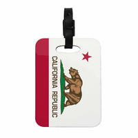 "Bruce Stanfield ""California State Flag"" Red White Decorative Luggage Tag"