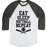 Eat Sleep Softball Repeat-Unisex White/Asphalt T-Shirt