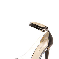 Rania Ankle Strap Pointed Toe Perspex Side Mid Heel Courts