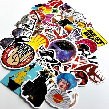 50pcs mixed decal Car Styling Skateboard Laptop Luggage Snowboard Car Fridge Phone DIY Vinyl Decal Motorcycle Sticker Covers
