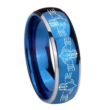 8MM Glossy Blue Dome Irish Claddagh Tungsten Carbide 2 Tone Laser Engraved Ring