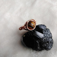 Tigers Eye Ring - Crystal Ring - Copper Ring - Wire Wrapped - Boho Ring - Boho Jewelry - Bohemian - Hippie - Gypsy Ring - Size 8