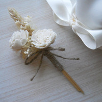 Sola Flower & Wheat Boutonniere, Groom and Groomsmen Boutonniere, Rustic Country Wedding Boutonniere. Made to Order.