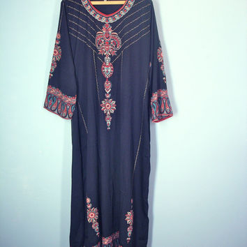 Vintage Silky Dress, Tribal Dress, Ethnic Dress, Maxi Dress, Caftan Dress, Loose Caftan
