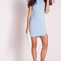 Missguided - Square Neck Side Split Bodycon Dress Blue