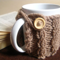 Custom Knit Mug Cozy with Wood Button – Cabled Mug Cozy – Fall Décor – Hostess Gift Idea for Her – Coffee Mug Cover – Thanksgiving Gift Idea