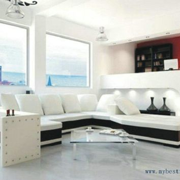 Luxury U Shaped, 2 color leather sofa, high quality living room furniture sofa set