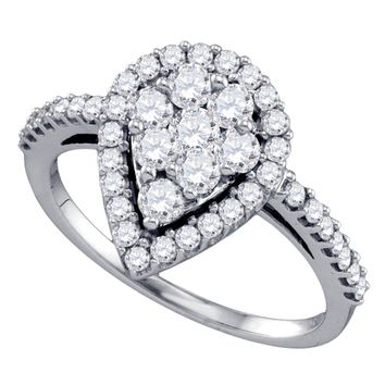 10k White Gold Round Diamond Teardrop-shape Cluster Engagement Anniversary Bridal Ring 1.00 Cttw