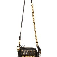 Versus Black Leather Gold Safety Pin Small Rectangle Bag