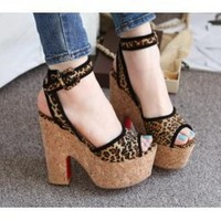 Wholesale Waterproof increasedthick heel sexy leopard grain a word the buckle thick sandals CZ-0554 black - Lovely Fashion