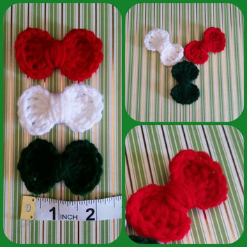 3 Happy Holidays Crochet Appliques, Embellishment Bows, handmade, scrapbooking, crochet bow, hair bow, craft supplies, cards
