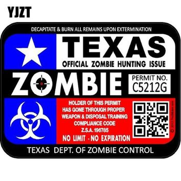 YJZT 13.6CM*10.2CM RESIDENT EVIL ZOMBIE Reflective Texas National Flag Hunting lLicense Car Sticker C1-7111