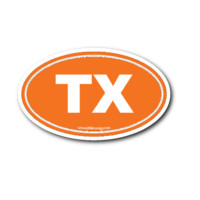 Texas TX Euro Oval Sticker ORANGE