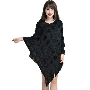 Women Cape Fashion Poncho Autumn Winter Casual Sweaters Batwing Knitted Tassels Pullover irregularity Cloak Tops Shawl Mantle