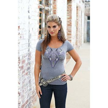 Wrangler Women's Rock 47 Grey Heather Short Sleeve Crew Neck Top - LJK309H