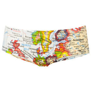 Map Print Cheeky Pants