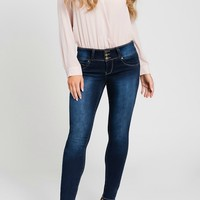 Women's Mid-Rise 3-Button Skinny Jean