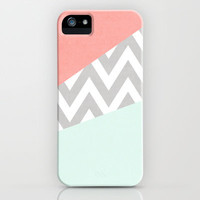 mint & coral chevron block TEXTURIZED iPhone & iPod Case by daniellebourland