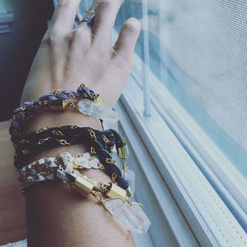 M Braided Leather and Crystal Bracelets