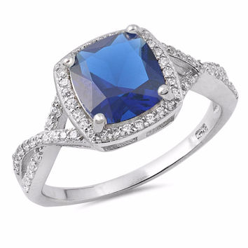 Sterling Silver CZ Simulated Blue Sapphire and Simulated Diamond Halo Ring