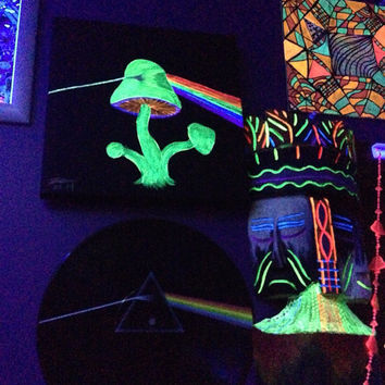 Pink Floyd Painting, Pink Floyd Black Light, Mushroom Black Light Painting, Mushroom Trippy Painting, Hippie Room Decor