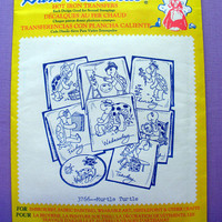 "Aunt Martha's ""Murtle Turtle"" Hot Iron Transfer Pattern 3766 for Embroidery, Fabric Painting, Needle Crafts"