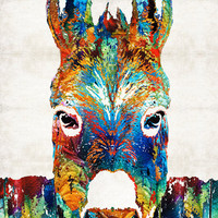 Colorful Donkey Animal Art PRINT from Painting Mule Kids Farm Ears Snout CANVAS Ready Hang Large Artwork Funny Fun Cute Rustic Ranch Color