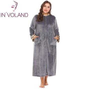 IN'VOLAND Plus Size XL-5XL Women Sleepwear Robes Soft Warm Lounge Plush Fleece Dress Lingerie Bathrobe Dressing Gowns Big Size