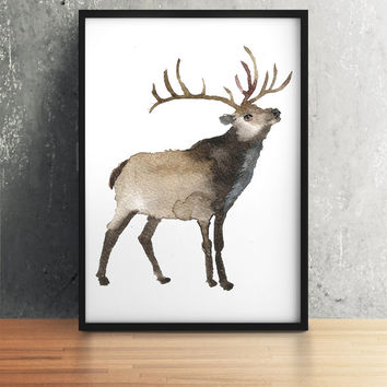 Watercolor deer print Animal art Nursery decor ACW8