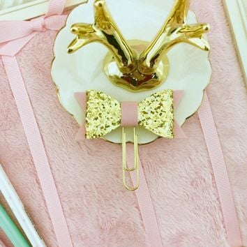 Bow Planner Clip Gold Glitter with Pink Faux Leather