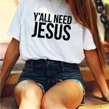 ESBONX5H White 'Y'ALL NEED JESUS' Letter Print T-Shirt