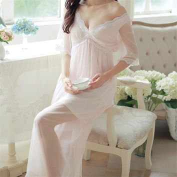 2017 Summer Elegant Sleepwear Romantic And Vintage Ladies Sexy Lace Home Dress Comfortable Long Nightgown Sleepshirts #H4
