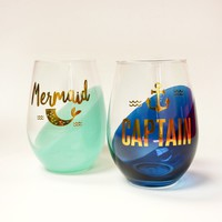 Mermaid and Captain Stemless Wine Glass Set