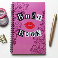 Writing journal, spiral notebook, sketchbook, bullet journal, diary, pink and black, mean girls, blank lined or grid paper  - Burn book