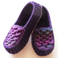 Dark Purple Crochet Slippers - Adult Sizes - Crocodile Stitch Loafers with Hemp Soles - Made to Order