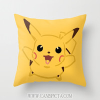 Pikachu Pokemon Throw Pillow 16x16 Graphic Print Art Cover Anime Decorative Creature Yellow Gold Gotta Catch them All Nursery 90's Kid