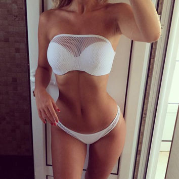 Gauze White Bikini Set Swimsuit Swimwear