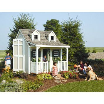 Homeplace Backyard Cottage Playhouse with Front Porch, Dormers and Loft