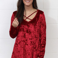 Heart Throb Crushed Velvet Strappy Blouse {Deep Red}