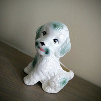 Vintage Nancy Pew giftware poodle puppy planter, made in Taiwan dog planter, white dog, vintage homeware vase