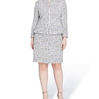 Tahari ASL Plus Tweed Zip-Front Jacket Skirt Suit | Dillards