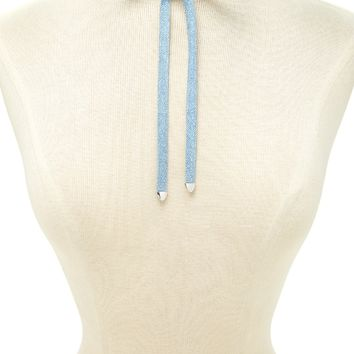 Self-Tie Denim Layer Choker
