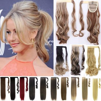 Ponytail Hair Piece Drawstring Pony tail Hair Extensions Straight Curly Wavy P5H