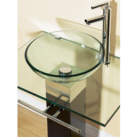23 Inch Bathroom Vanity Set With Clear Glass Sink