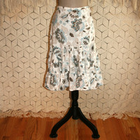 Hippie Boho Linen Skirt Bohemian Blue Brown Print Flared Flounce Casual Skirts Womens Skirts Ann Taylor Petite Small Medium Womens Clothing