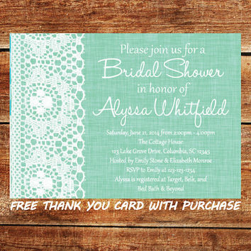 Mint Green Bridal Shower Invitation - Printable Lace Wedding Shower Invite