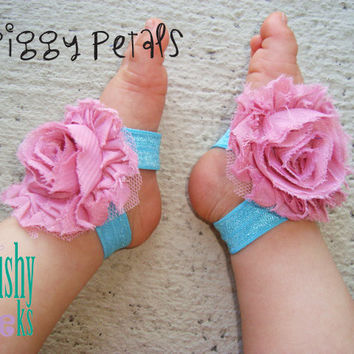 Pink Teal Piggy Petals -  ADORABLE Baby Barefoot Sandals Toe Blooms - Photo Props - Baby Shoes - Newborn Shoes - Toddler Sandals