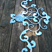 Large Architectural Metal Pediment, French Country, Chic and Shabby, French Blue