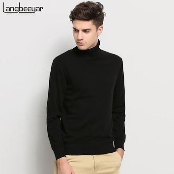 Winter Clothing Sweater Men Turtleneck Slim Fit Winter Pullover Men Solid Color Knitted Sweater Men